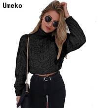 05009560987fed Umeko Women Crop Top Sweater Turtleneck Winter Tops for Women Clothes Sexy Knit  Sweater Cashmere Long Sleeve Fashion 2018 Winter