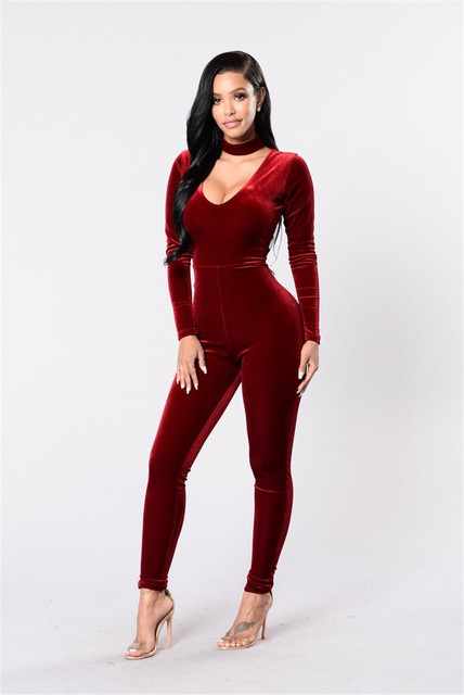 f0f2d27c068f High Quality Velvet Jumpsuit Women Long Sleeve Bodycon Romper Overall 2017  Winter Autumn Women Sexy V