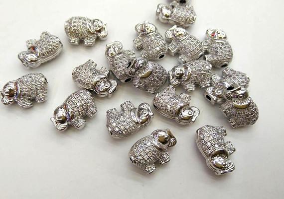 12 pièces pendentif diamant pavé CZ 12-18mm pendentif éléphant pavé, breloque éléphant diamant, collier éléphant pavé, connecteur pavé, Oxi