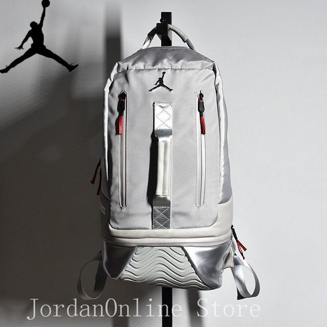 Jordan Retro 11 Sport Bags Men and Women PU Leather Bookbag Climbing Laptop  Bag Sport-Backpack Grey Color Good quality Bag 93def84f161ba