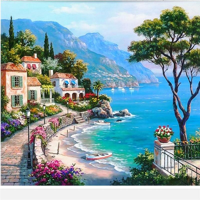 Mediterranean Style Houses With Ocean Views: Beibehang Custom Wallpaper 3d Large Photo Wallpaper Mural