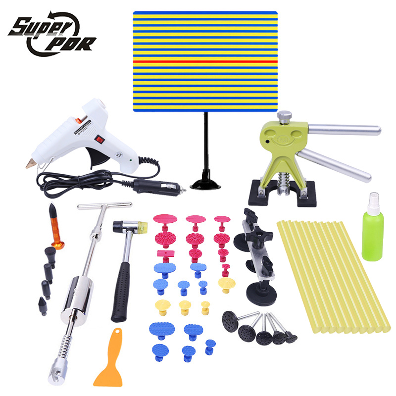 PDR tools Paintless Dent Repair Tool Kit Car body dent removal tool set yellow line Reflector board car glue gun slide hammer pdr tools for car tool set paintless dent repair tools dent puller led lamp reflector board hand tool set pdr kit