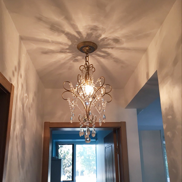 Hallway Chandeliers Stairs Passage Lamp Lighting Fixtures Passway Hanging Light Mini Crystal For Bedrooms