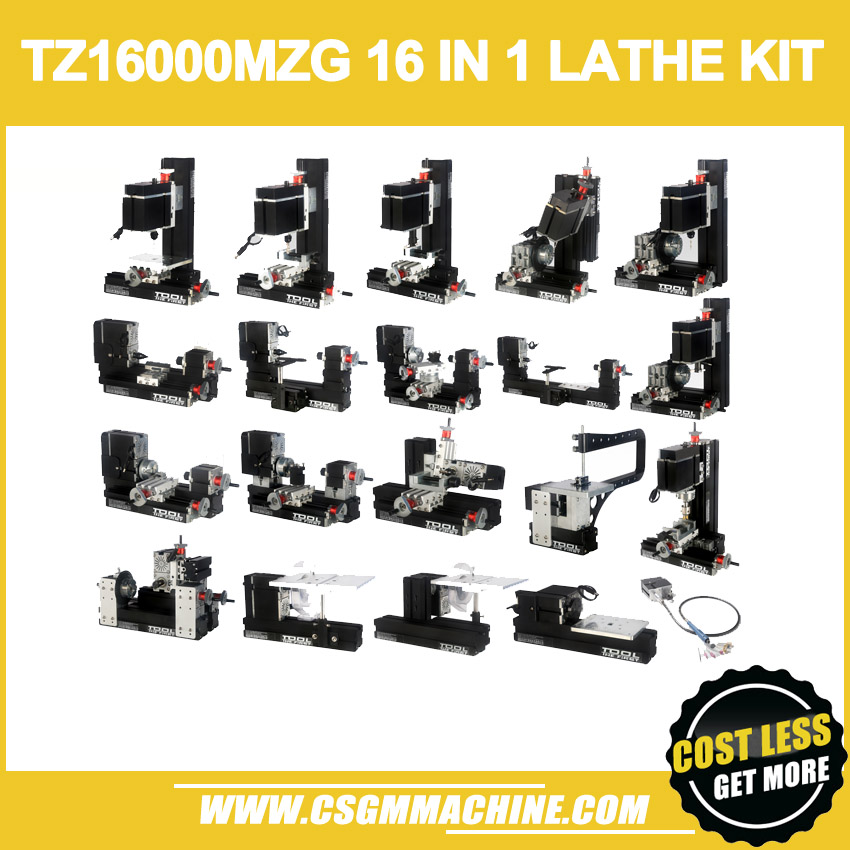NEW ARRIVAL TZ16000MZG 60W Metal 16 in 1 Mini lathe with Bow Arm 60W 12000rpm Mini