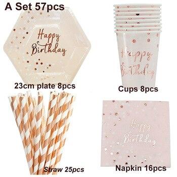 fea15ab51 57 unids/lote oro rosa rayas vajilla desechable de papel de fiesta de  placas bebé ducha cumpleaños fiesta tazas de papel de vajilla