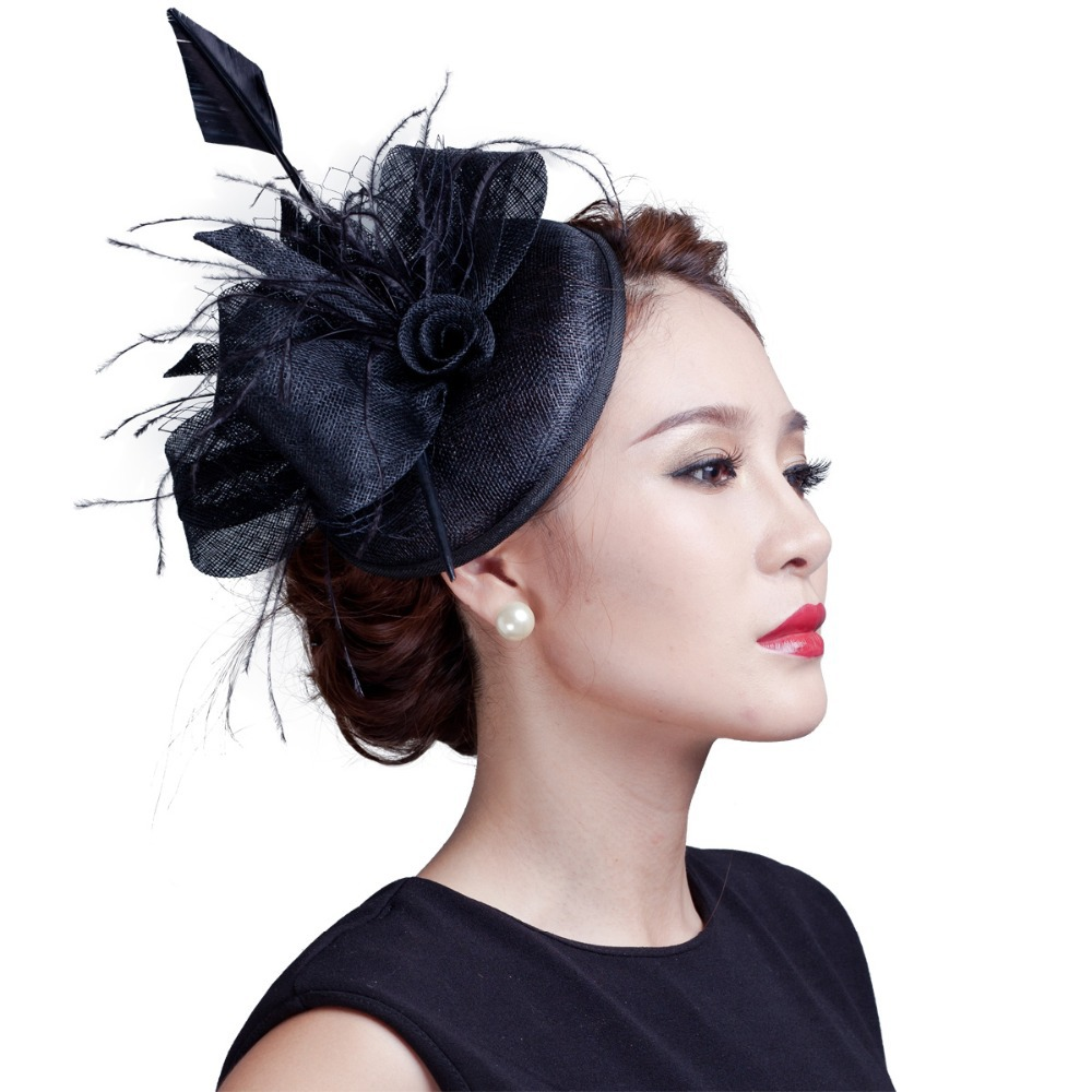 19a76ca14d336 US $18.39 30% OFF Women purple cocktail hair hat fascinators ladies wedding  party fascinator hat race fascinators hats with feather-in Women's Hair ...
