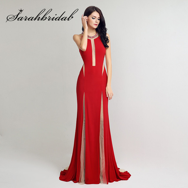 Mermaid Red Color Sexy Long Evening Dress Party Formal Dresses 2016 Simple  abendkleider LX217 9e5fb3476e98