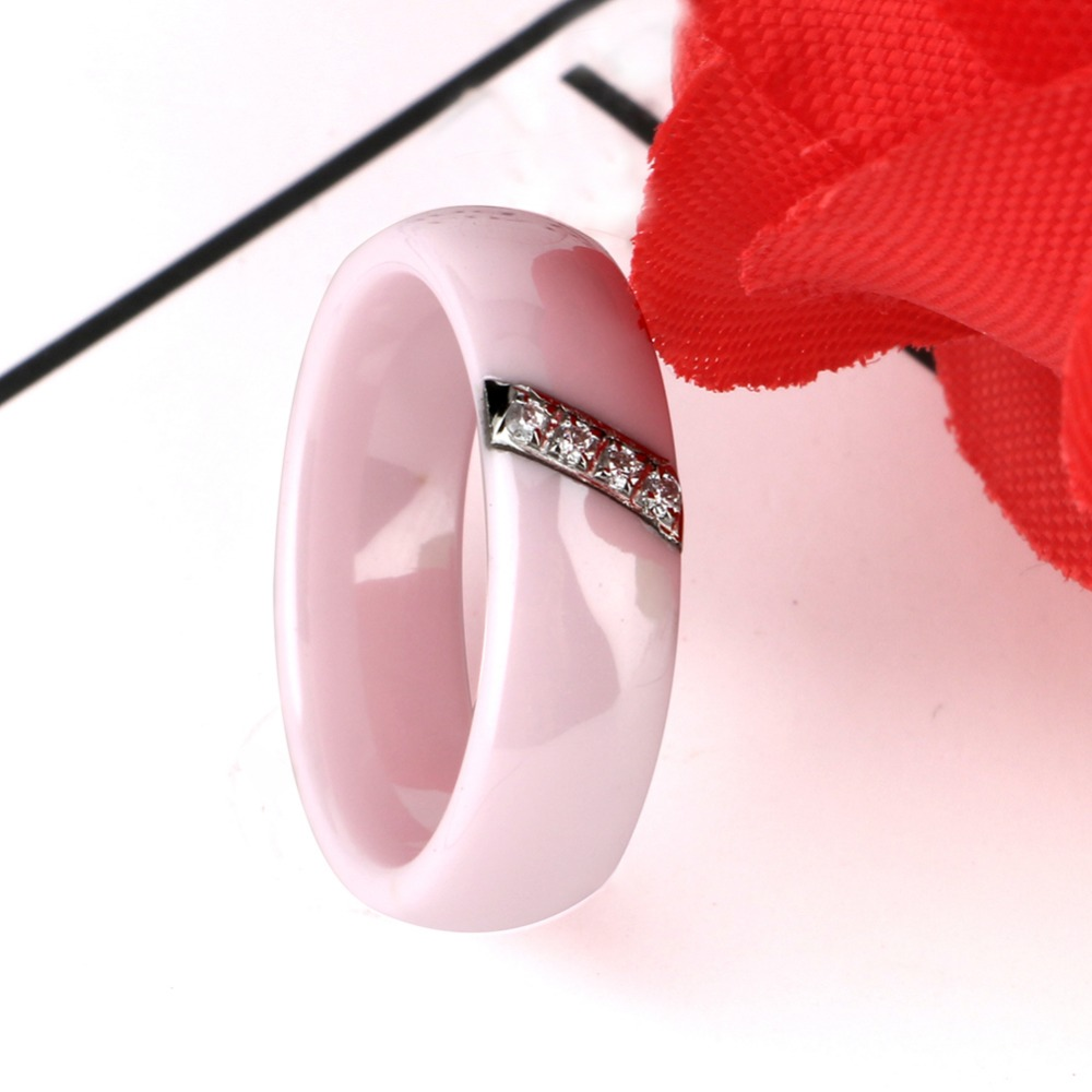 New 6MM Crystal Ceramic Ring Cubic Zirconia Stone Black And White ...