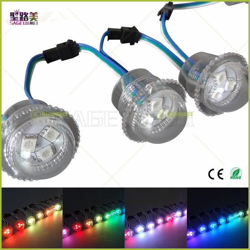 DC12V 26mm de diámetro cubierta transparente ws2811 LED módulo de luz de punto expuesto 3 leds SMD 5050 RGB Chips led pixel impermeable IP68 50leds 12mm WS2811 2811 IC Color píxeles de módulo LED luz DC5V IP68 RGB impermeable Digital de color luz LED del Pixel