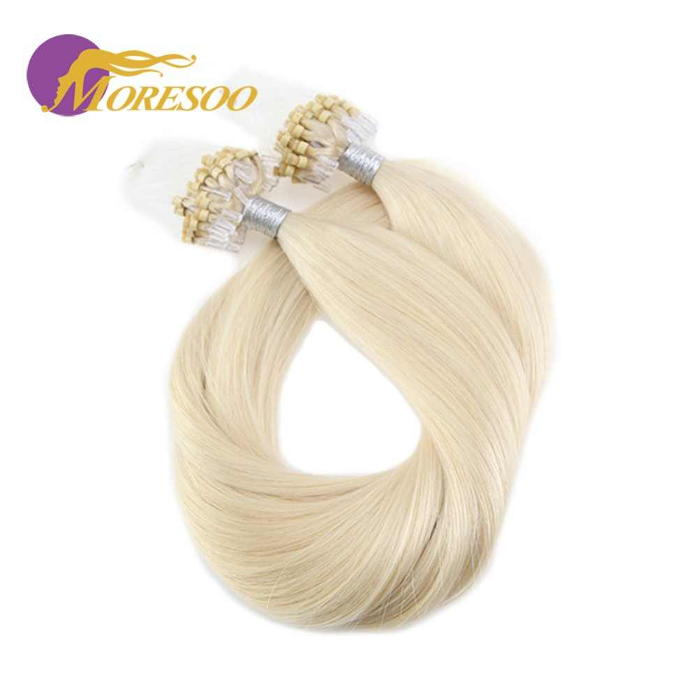 Moresoo Micro Loop Hair Extensions Micro Bead Human Hair Remy Brazilian Beads Extensions 1G/1S 50G 50S Pure Color