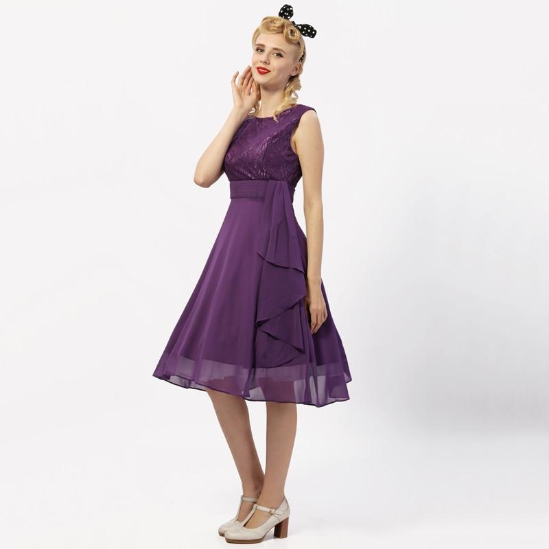 Tonval Ruffle Peplum Vintage Chiffon verano mujeres vestido Retro ...
