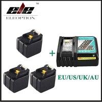 3x ELEOPTION 6000 мАч 14.4 В литий ионный Батарея для Makita BL1430 bl1415 194066 1 194065 3 194559 8 с 6.5a быстрого Зарядное устройство