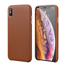 Luxury Metal Volume Button Case For iPhone XS MAX/ X/ XS/ XR/ 7 8 Plus Vintage Plated Slim Soft Genuine Leather Back Case Cover