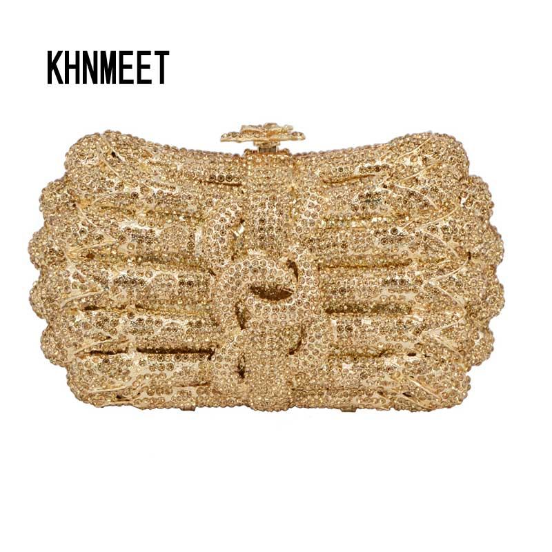 Silver Evening bags for women fashion brand designer Handcraft day clutch bags new party crystal handbags