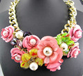Newest Gorgeous Fashion Clear crystal Flower Bib Statement Necklace Women Choker Ancient Golden Chain Necklace Pendant Q598