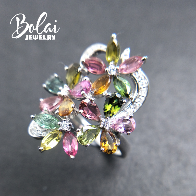 Bolaijewelry,petals and Leaf natural fancy color tourmaline Ring in 925 sterling silver fine jewelry for girl as gift with box-in Rings from Jewelry & Accessories    3