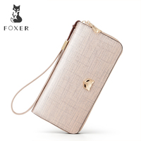 FOXER Brand Lady Leather Long Wallets Women Solid Clutch Wallet Casual Purse Exclusive Design For Women