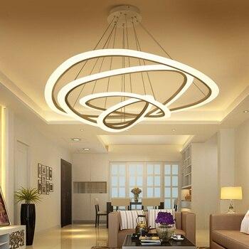 מודרני LED אורות תליון גדול יוקרה מסעדת סלון מטבח 4/3/2/1 טבעת לבן אקריליק LED תאורת תליון מנורה