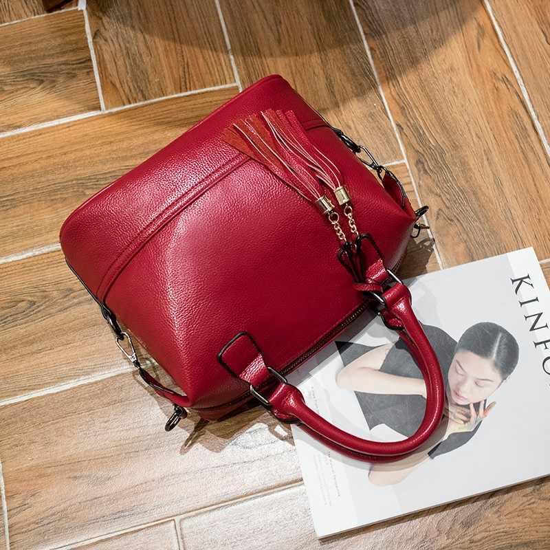 Роскошные Брендовые женские сумки, дизайнерские Элегантные кожаные сумки через плечо с кисточками для женщин 2018, повседневные женские сумки-мессенджеры X43