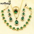XUTAAYI Top imitação de Qualidade Verde Esmeralda cor Banhado A ouro Conjunto de Jóias Mulheres Colar Pingente Anel Brincos Longa Queda