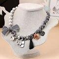 Laço de fita flor gato charme borla gargantilha colar de 2016 declaração de jóias de alta moda mulheres românticas hipérbole colares/colier