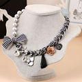 Ribbon bow flower cat tassel charm choker necklace 2016 statement jewelry high fashion women romantic hyperbole necklaces/colier
