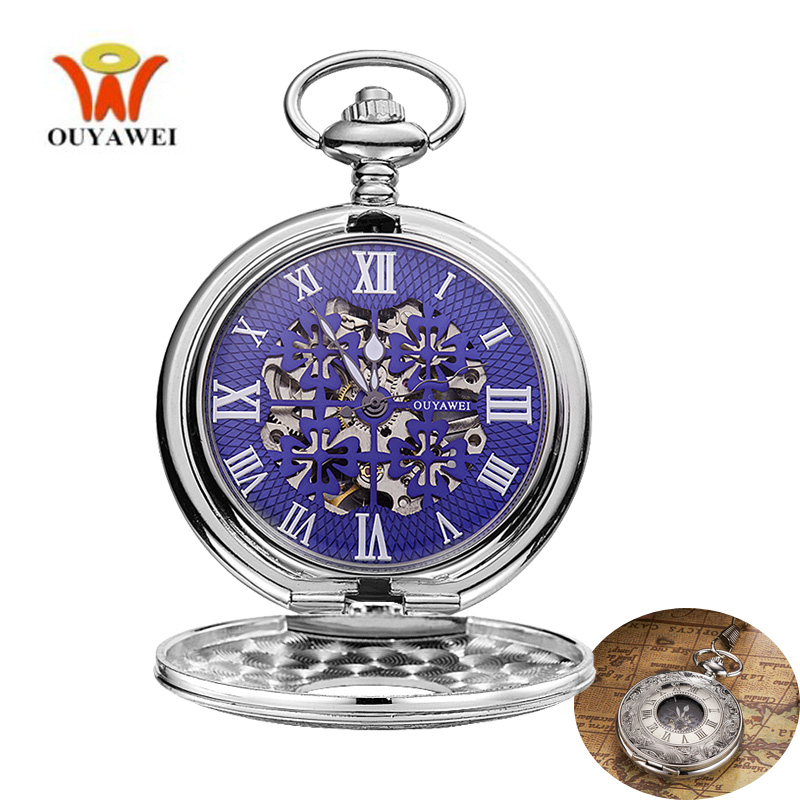 OUYAWEI Hollow Cover Flower Mekanisk Fickur Silver Full Metal Alchemist Hand Winding Mode Unisex Män Women Fob Watch