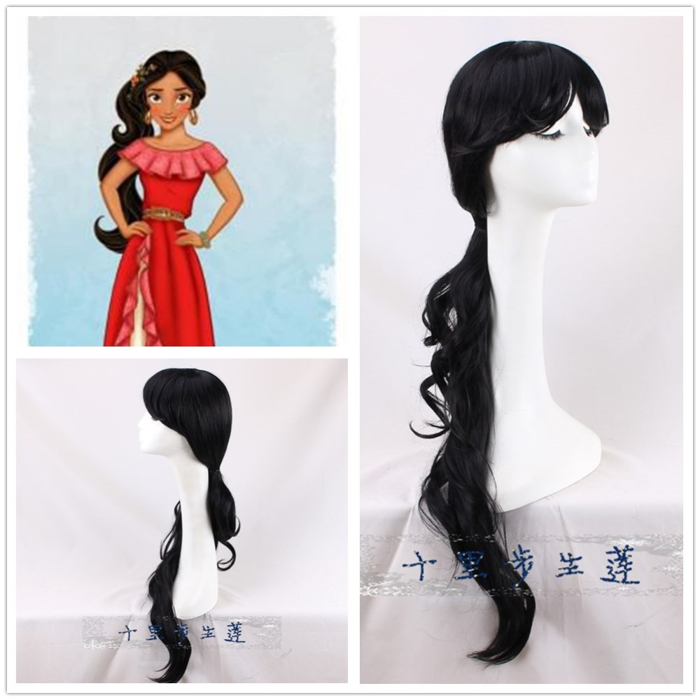 The Princess Elena of Avalor cosplay wig Women Elena black 80cm curly long hair wig + wig cap