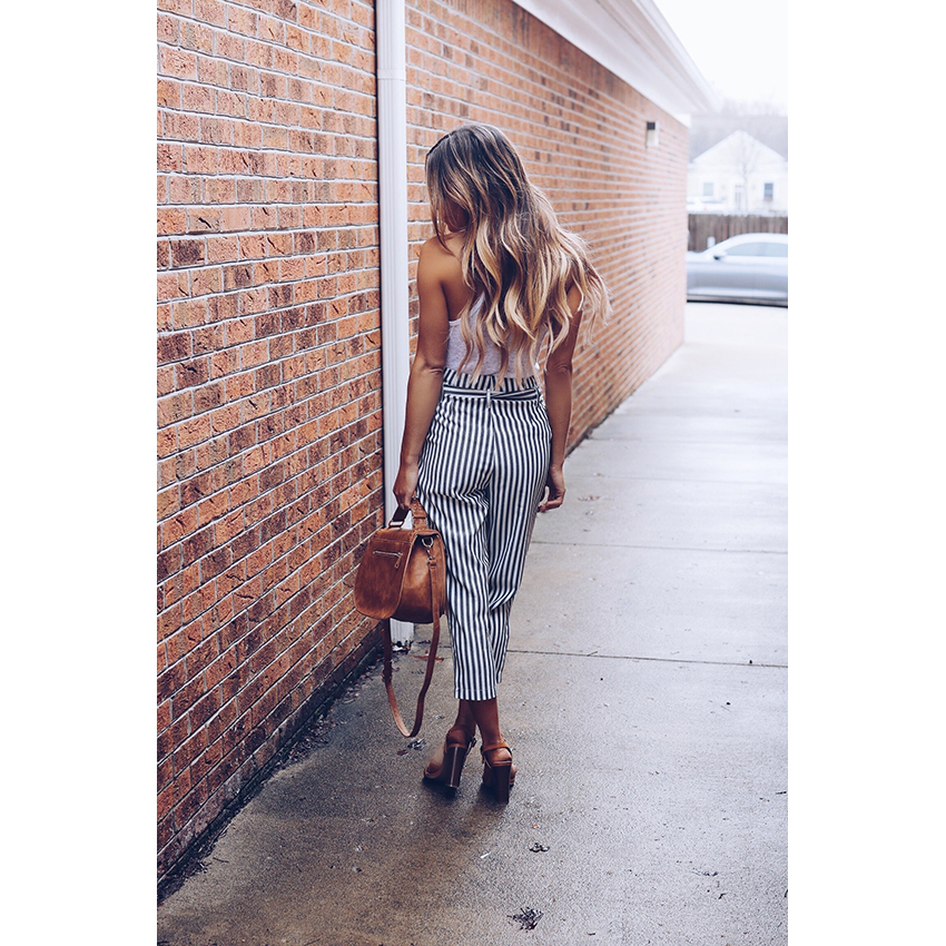 HTB1CldGgkKWBuNjy1zjq6AOypXaO - 2018 OL chiffon striped  high waist harem pants Women stringyselvedge summer style casual pants female trousers