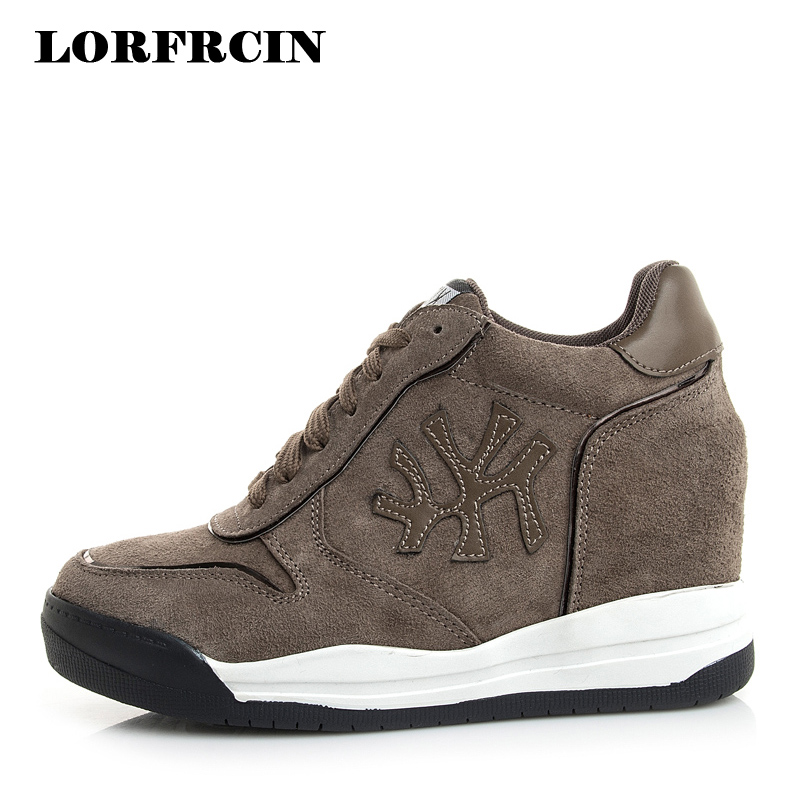 LORFRCIN Size 31-39 Women Casual Shoes Hidden Heel Wedge Trainer Shoes Genuine Leather Outdoor Shoes For Woman chaussure femme nayiduyun women genuine leather wedge high heel pumps platform creepers round toe slip on casual shoes boots wedge sneakers