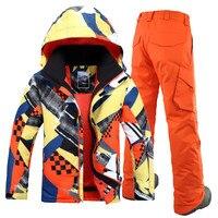 Men Ski Suit Gsou Snow Super Warm Skiing Snowboard Jacket Pant Outdoor Sport Wear Camping Riding