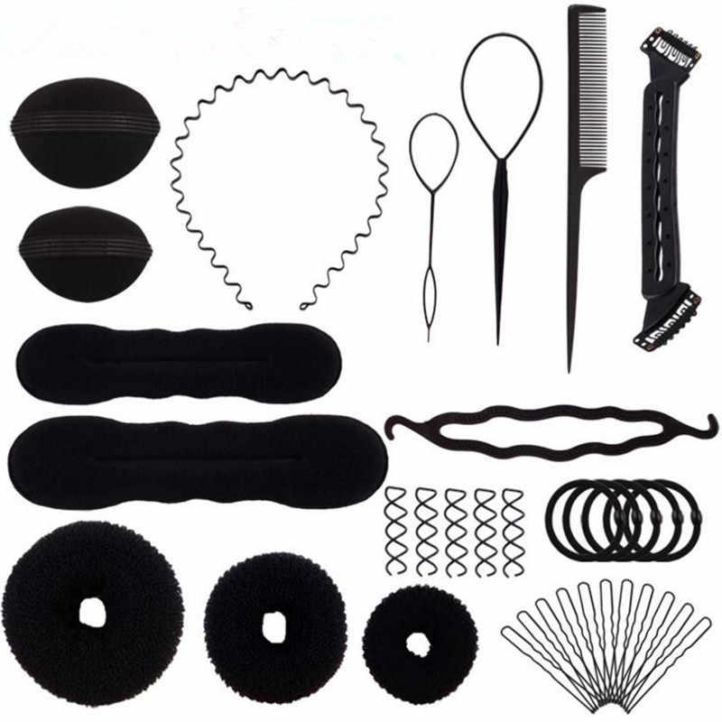 Черная новинка, 15 шт., волшебная резинка для волос, заколки для волос, щипцы для завивки волос, роликовые шпильки, набор для стрижки, губка для завивки волос, приспособление для плетения кос, набор