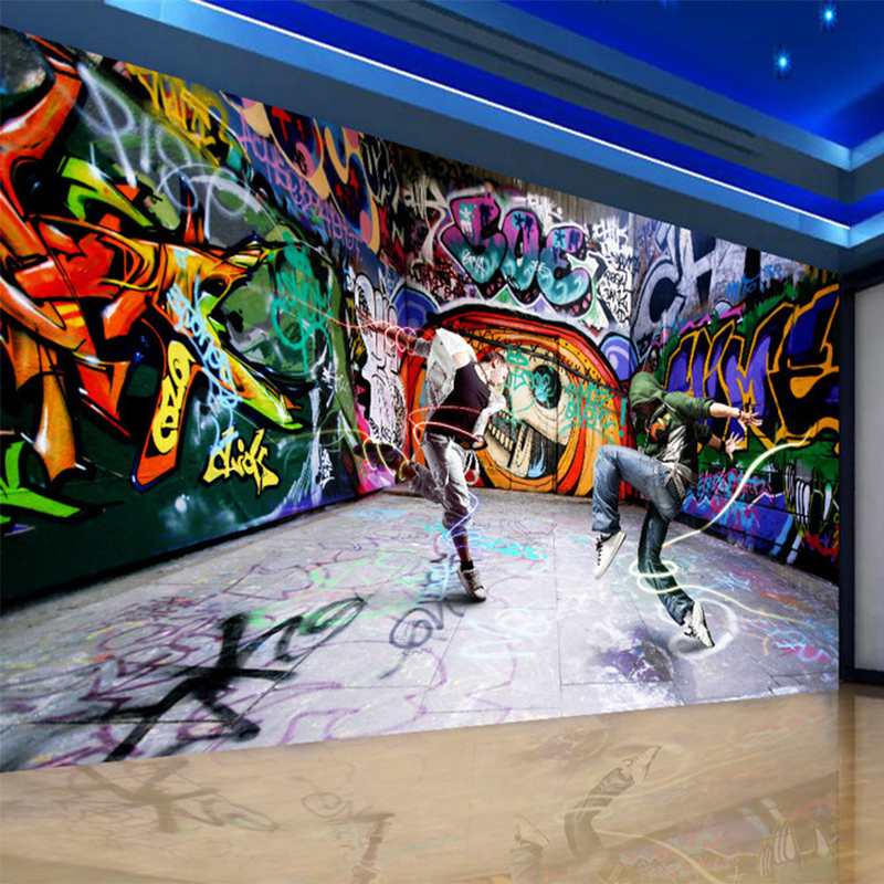 3d Behang Abstracte Kunst Hiphop Graffiti Muur Schilderen Foto Muurschilderingen Ktv Bar Cafe Clubs Gepersonaliseerde Maatwerk Behang 3d