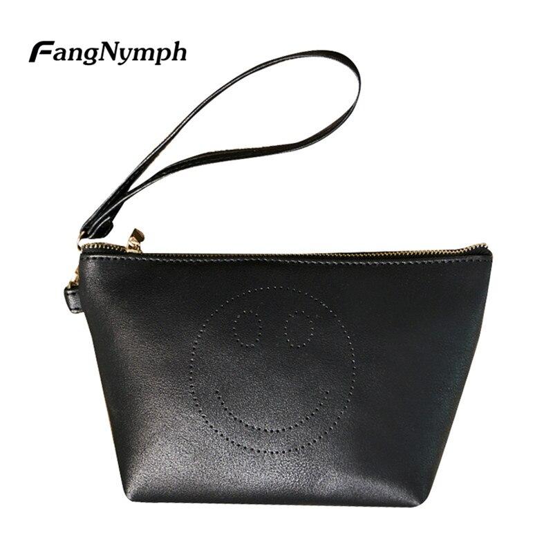 FangNymph New Designer Fashion Women Smile Face Clutch Bag Change Purse Female PU Leather Handbag Mini Small Wallet Pouch S/L