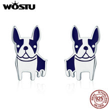 WOSTU HOT SALE Real 925 Sterling Silver French Bulldog Stud