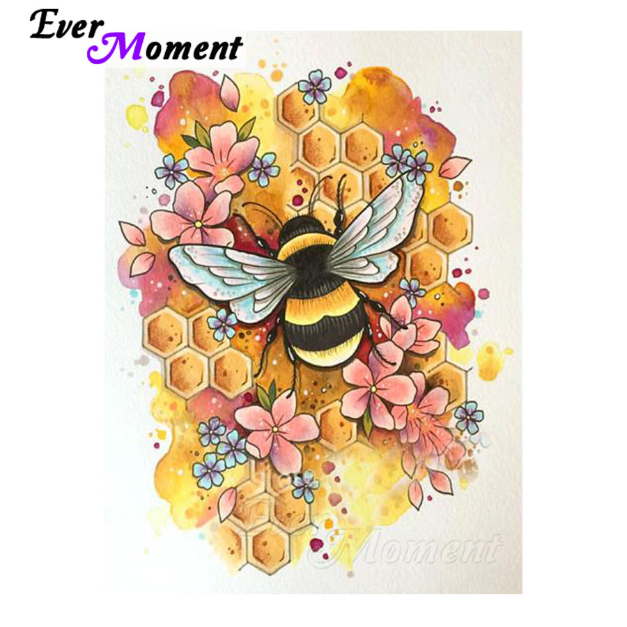 Ever Moment Diamond Painting Bee Cross Stitch Picture Mosaic Full Square Drill Diamond Embroidery Handmade Stones Decor S2F1084Ever Moment Diamond Painting Bee Cross Stitch Picture Mosaic Full Square Drill Diamond Embroidery Handmade Stones Decor S2F1084
