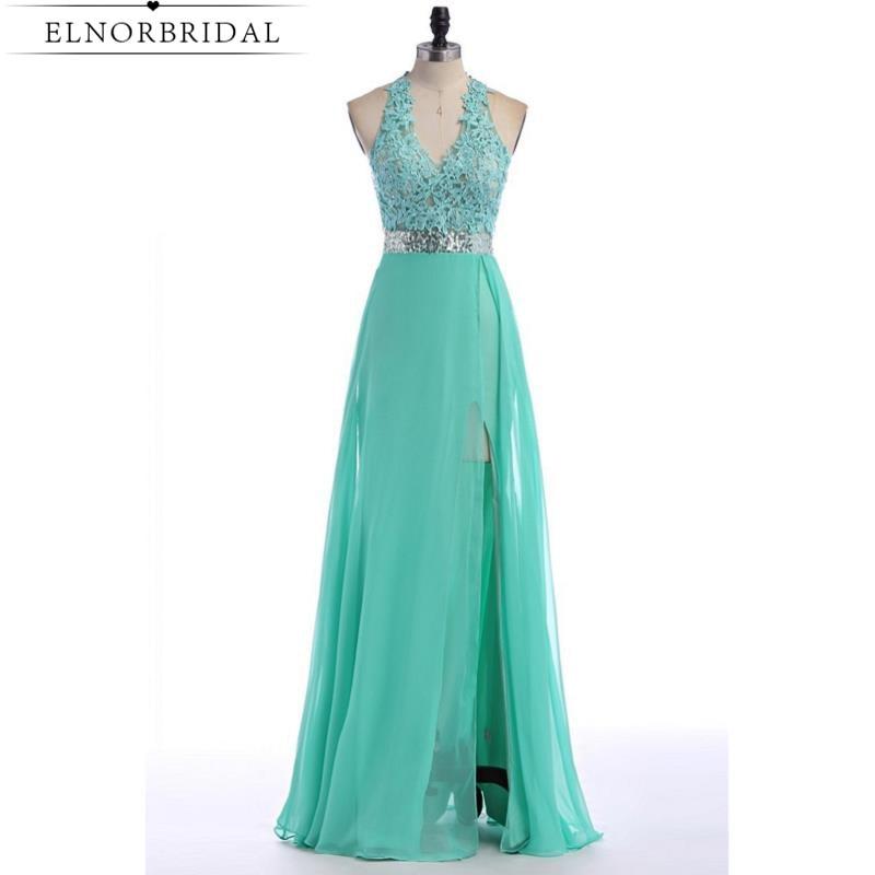 Mint Green Long Prom Dress 2017 Robe De Bal Deep V Neck Side Split Sexy Brithday Party Dresses Formal Evening Wear Free Shipping