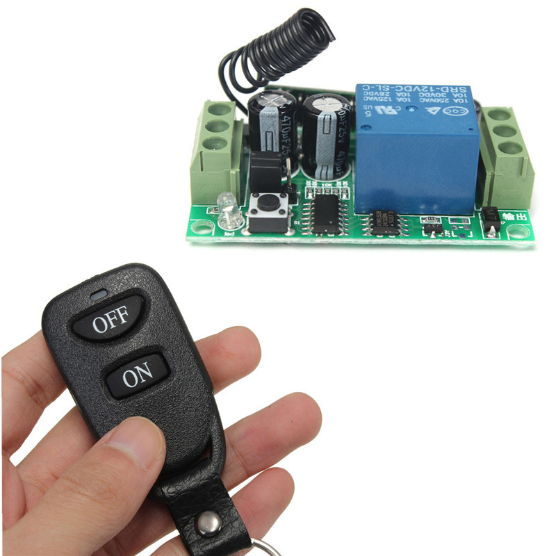 New Universal Wireless Remote Control Switch DC 12V 10A 1CH 433MHZ System Receiver Transmitter 2 Buttons Waterproof RemoteNew Universal Wireless Remote Control Switch DC 12V 10A 1CH 433MHZ System Receiver Transmitter 2 Buttons Waterproof Remote