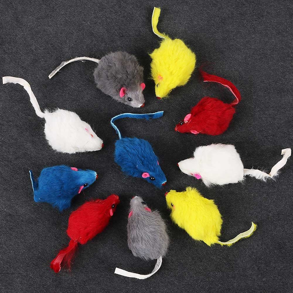 10pcs/set Funny Rabbit Fur False Mouse Pet Cat Toys Mini Funny Playing Toys For Cats Kitten Pet Accessories