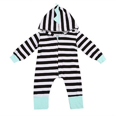 Fashion Lovely Newborn Boy Baby Girl Long Sleeve Striped Rompe Outfit Clothes Casual Hooded Jumpsuit