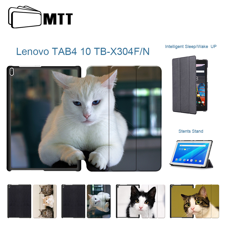 Fashion Pet Cats PU Leather Case For Lenovo tab 4 10 TB-X304L TB-X304F TB-X304N Magnet Smart Cover Funda For Lenovo tab4 10.1 case for lenovo tab4 tab 4 tb x304l x304f x304n 10 1 sleeve pouch zipper bag case protective cover for lenovo tab 4 10 tb x304l