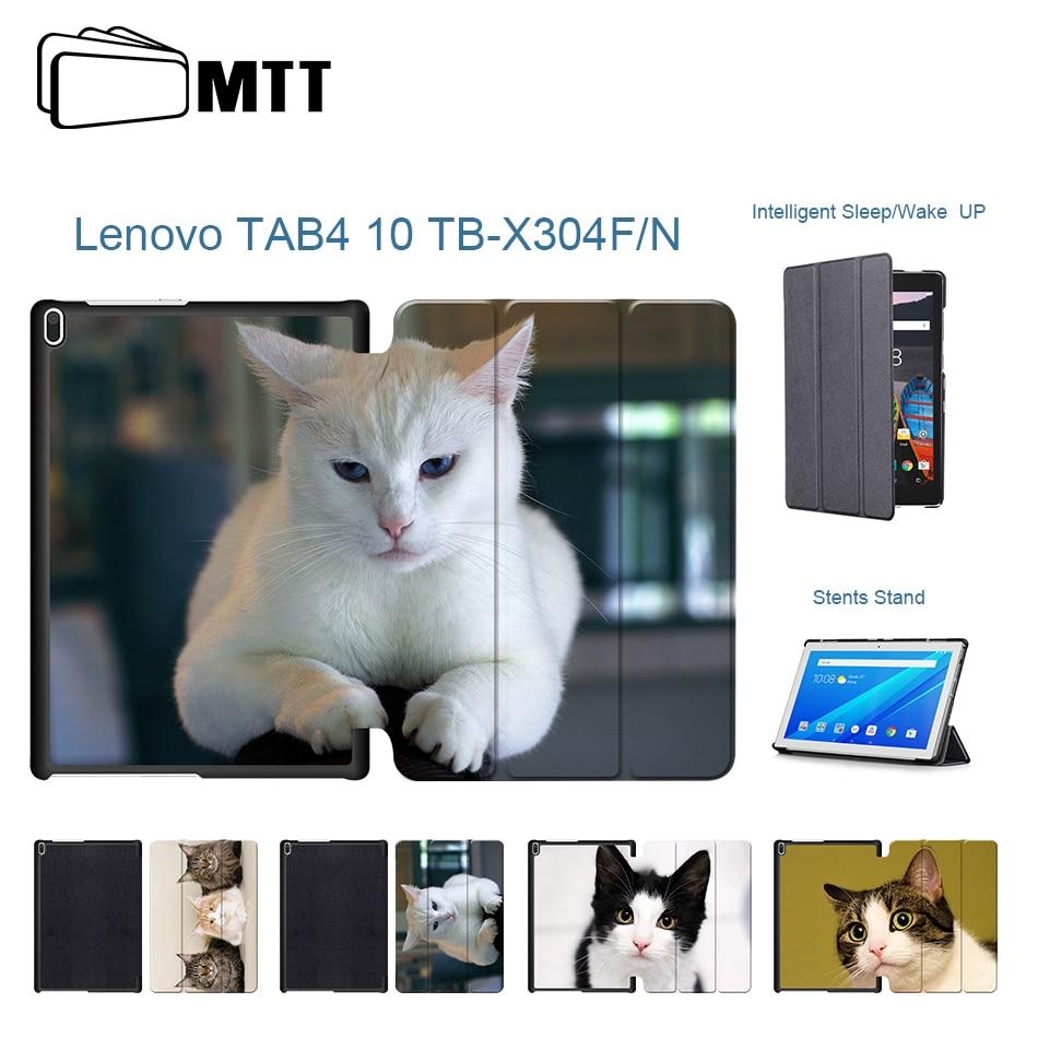 Fashion Pet Cats PU Leather Case For Lenovo tab 4 10 TB-X304L TB-X304F  TB-X304N Magnet Smart Cover Funda For Lenovo tab4 10 1