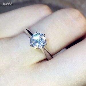 Image 4 - Meibapjきらめくモアッサナイトジェムストーン古典シンプルな 6 爪リング 925 スターリングシルバーファイン結婚式の宝石類