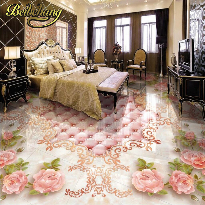 beibehang Custom European rose soft bag marble Photo wall paper Bathroom Floor Mural PVC Self-adhesive Wallpaper For Living room beibehang mural wallpaper 3d stereoscopic creative wall paper for living room bedroom bathroom floor pvc self adhesive sticker