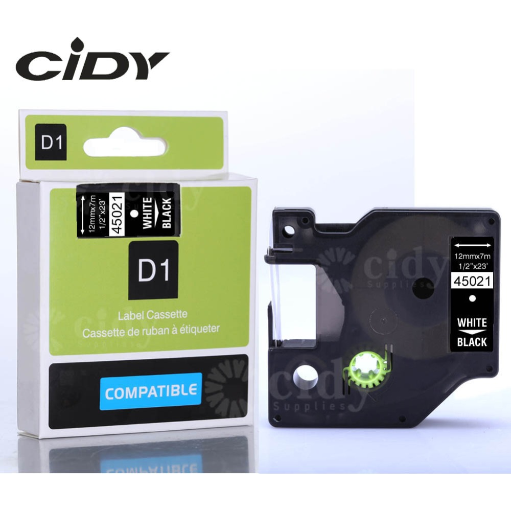 CIDY 100pcs Dymo D1 45021 Tape Cartridge 12mm White on Black for DYMO LM160 LM280 DYMO