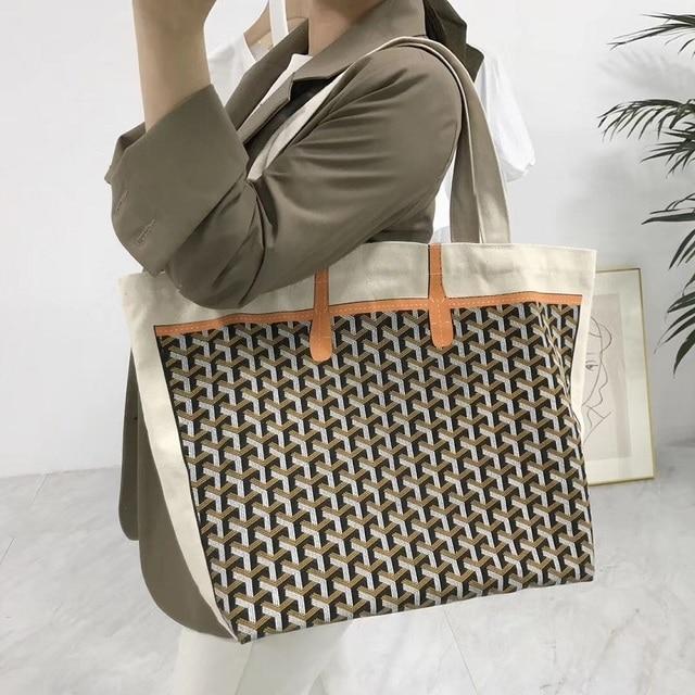 0a36984d3b Women Canvas Tote Bag Handbag Geometric Print Portable Shoulder Shopping Bag  Top-Handle Bags Handbags
