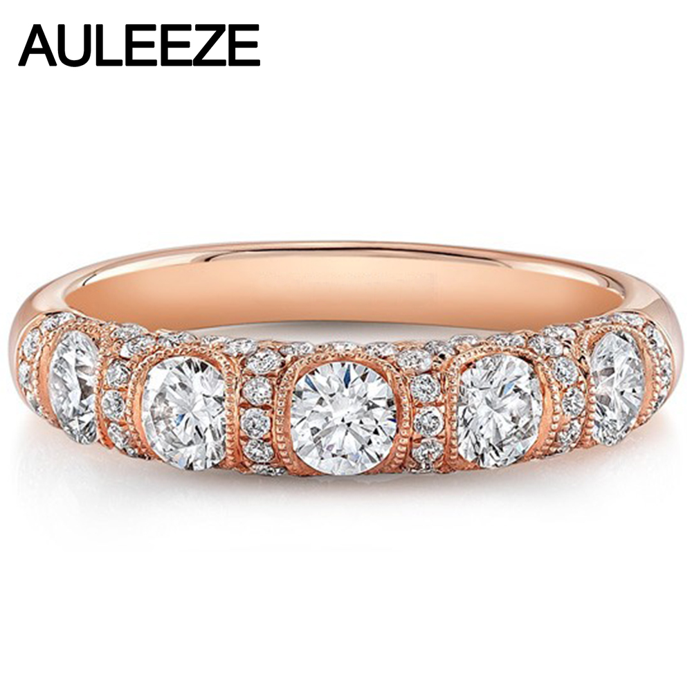 Vintage Milgrain Moissanite Engagement Wedding Band 14K Rose Gold Five Lab Grown Diamond Daily Life Match Band Fine Jewelry genuine 18k 750 rose gold 1ct hearts arrows test positive lab grown moissanite diamond engagement pendant necklace chain women