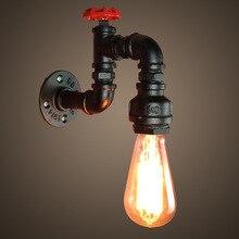 Vintage Reto lámpara de pared de tubo de agua accesorio de hierro forjado Loft Industrial estilo americano Edison luces de noche pasillo Home Deco