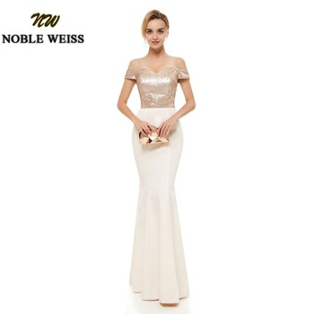 NOBLE WEISS Bridesmaid Dress Long wedding party gown Sequined Champagne Floor Length Bridesmaid Dresses mermaid bridesmaid dress