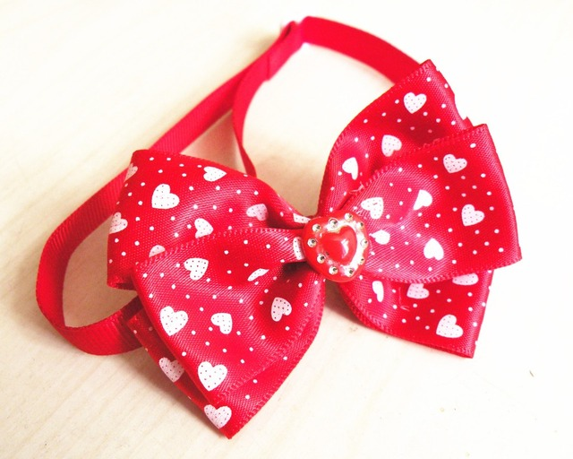 50pclot love heart ribbon dog bow ties holiday dog neckties dog ties for valentine